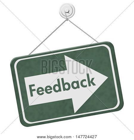 Getting Feedback for your business A green hanging sign with text Feedback isolated over white, 3D Illustration