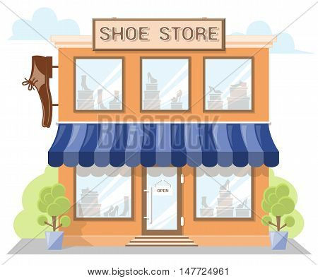 Facade shoe store with a signboard awning and products in shopwindow. Abstract image in a flat design. Front shop for Concept brochure or banner. Vector illustration isolated on white background