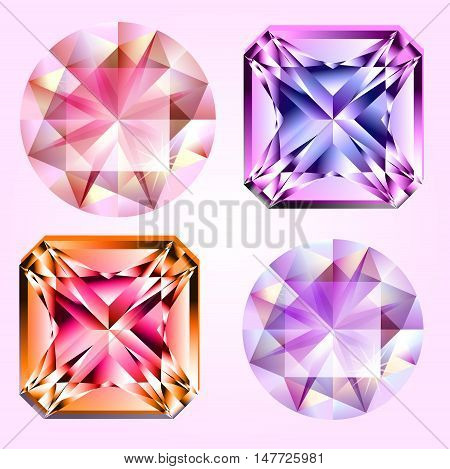 Four different kind of gems, rounded and square shape. Isolated.