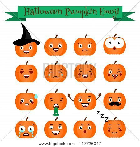 Cute vector halloween pumpkin with phrases emoji set. Emoticons stickers isolated design elements icons for mobile applications social networks chat and other business