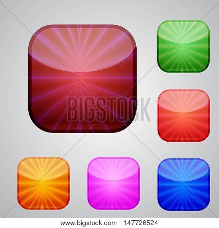 Set of the vector buttons for your design.multucolor rounded squares