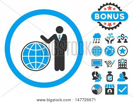 Global Manager icon with bonus pictures. Vector illustration style is flat iconic bicolor symbols, blue and gray colors, white background.