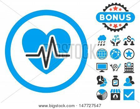 Heart Diagram icon with bonus elements. Vector illustration style is flat iconic bicolor symbols, blue and gray colors, white background.