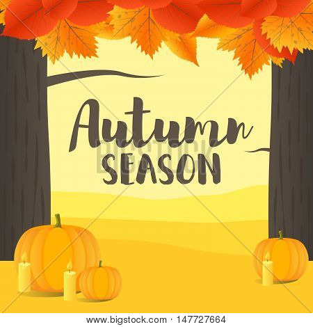 Vector Illustration with Hand Lettered Text and Autumn landscape
