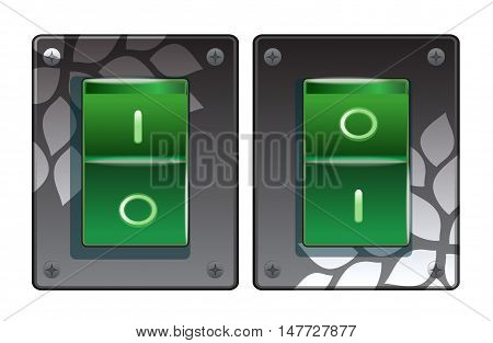 Set of green switches on the white.
