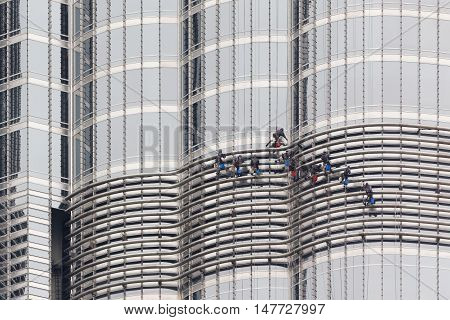 Window Cleaners on the World's Tallest Building, the Burj Khalifa in Dubai, United Arab Emirates (UAE)