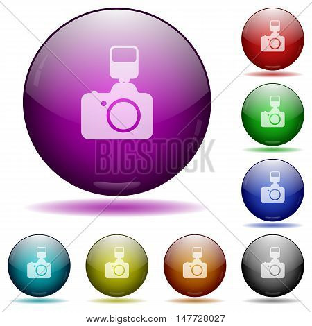 Set of color camera with flash glass sphere buttons with shadows.