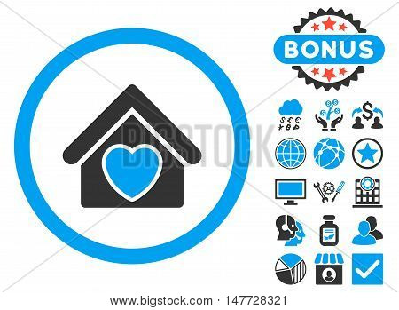Hospice icon with bonus pictogram. Vector illustration style is flat iconic bicolor symbols, blue and gray colors, white background.