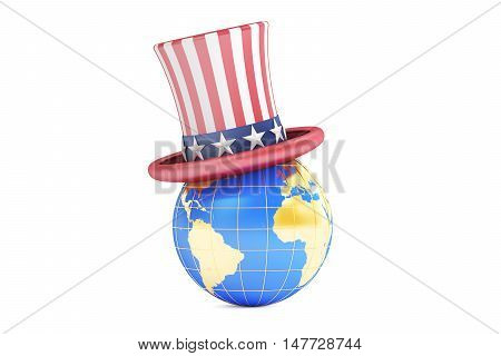 Uncle Sam hat and world 3D rendering