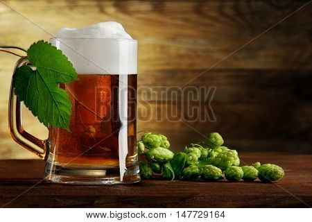 mug of beer and branch of hops.on a wooden table