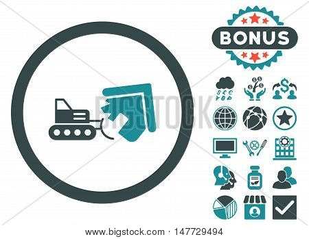 Demolition icon with bonus design elements. Vector illustration style is flat iconic bicolor symbols soft blue colors white background.