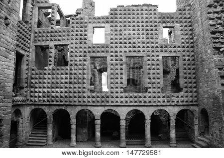 A view of the diamond faceted façade inside Crichton castle