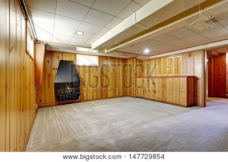 Empty Room Interior With Wooden Pannel Trim Walls And Fireplace.