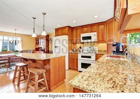 Kitchen Room Interior With Island, Wooden Cabinets And Granite Counter Top.