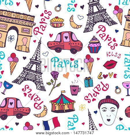 Paris seamless pattern with eiffel tower, triumphal arch and cute doodles. Vector background for wrapping and decoration
