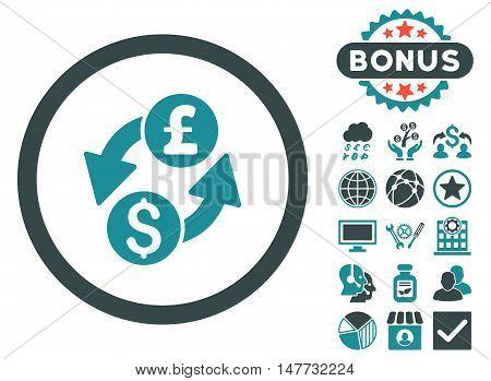 Dollar Pound Exchange icon with bonus design elements. Vector illustration style is flat iconic bicolor symbols soft blue colors white background.