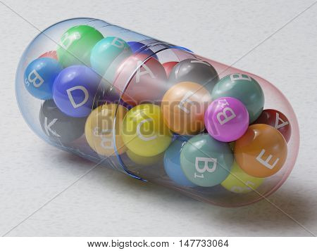 3D illustration. Multivitamin with several vitamins in a single pill. Clipping path included.