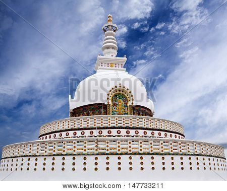 Shanti Stupa (Peace Pagoda) view on a hilltop in Chanspa in Leh, Jammu and Kashmir state, North India.
