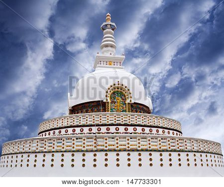 Peace Pagoda (Shanti Stupa) view on a hilltop in Chanspa in Leh, Jammu and Kashmir state, North India.