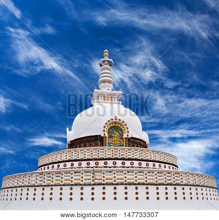 Shanti Stupa (Peace Pagoda) in Leh, Jammu and Kashmir state, North India.