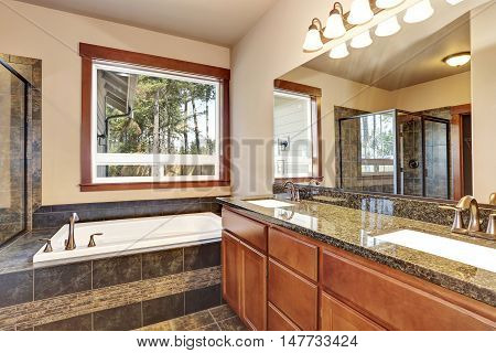 Luxury Bathroom With Vanity Cabinet With Granite Counter Top And Large Mirror.