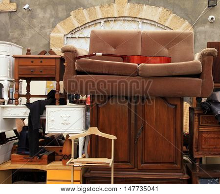 Vintage furniture and other staff at Jaffa flea market district in Tel Aviv-Jaffa, Israel.