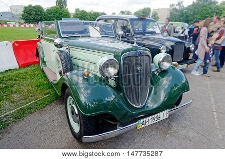 Kharkiv Ukraine - May 22 2016: Retro car Audi Front-225 manufactured in 1936 is presented at the festival of vintage cars Kharkiv Retro Rally - 2016 in Kharkiv Ukraine on May 22 2016