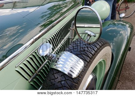 Kharkiv Ukraine - May 22 2016: Close up of retro car Audi Front-225 manufactured in 1936 is presented at the festival of vintage cars Kharkiv Retro Rally - 2016 in Kharkiv Ukraine on May 22 2016