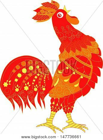 Red cartoons roster with ornaments, cock crow hand drown vector illustration
