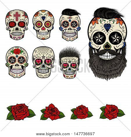 Set of sugar skulls and design elements. Day of the Dead. Skull with hairstyle. Set of the roses in vector.