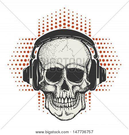 Hand drawn human Skull in headphones. Design element for t-shirt poster. Vector illustration.