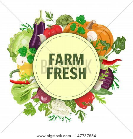 Vector circle label or banner with fresh vegetables. Concept for vegan, organic, farm produsts.
