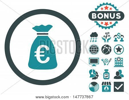 Euro Money Bag icon with bonus images. Vector illustration style is flat iconic bicolor symbols soft blue colors white background.