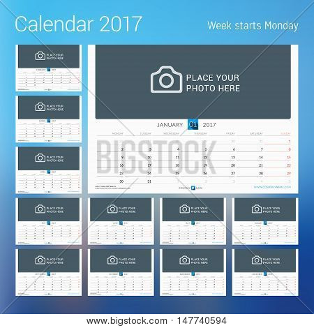 Calendar For 2017 Year. Vector Design Print Template With Place For Photo. Week Starts Monday. Set O