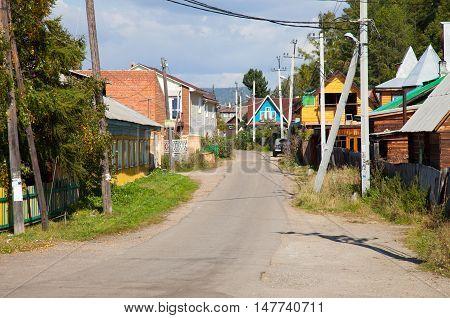 View of the Listvyanka settlement (Irkutsk oblast) autumn.