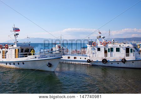 LISTVYANKA RUSSIA - 17 SEPTEMBER 2016: View of the berth on Lake Baikal autumn.