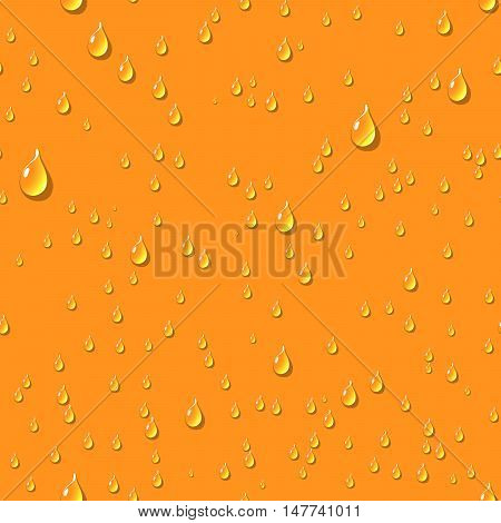 Orange water transparent drops seamless pattern. Rain drops. Condensed water background. Water drops scattered across the orange surface. Water drops seamless background. Vector illustration