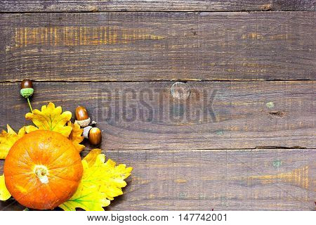 autumn background with pumpkin oak and maple leaves and acorns on wooden board