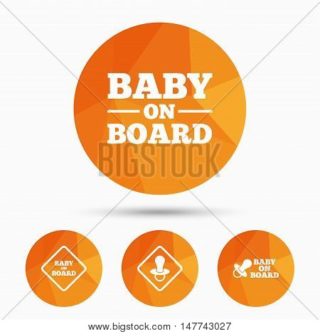 Baby on board icons. Infant caution signs. Nipple pacifier symbol. Triangular low poly buttons with shadow. Vector