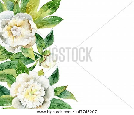 Watercolor floral composition with white peonies and leaves