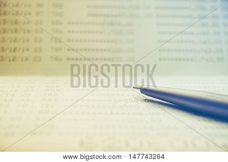 Save money concept, Account bank or bank book with pen save money and save life filter color style