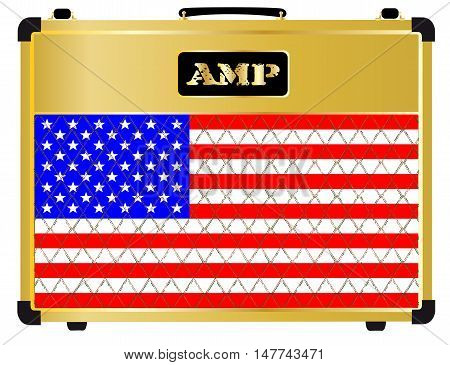 A typical electric guitar combo valve amplifier with the Stars and Stripes flag