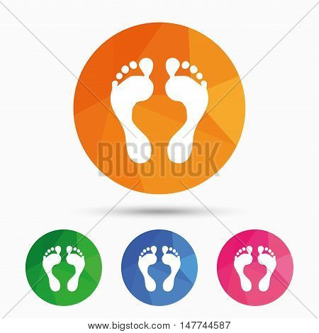 Human footprint sign icon. Barefoot symbol. Foot silhouette. Triangular low poly button with flat icon. Vector