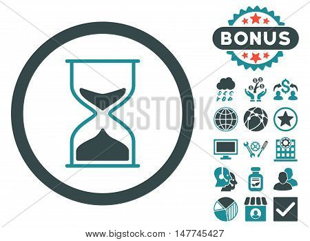 Hourglass icon with bonus design elements. Vector illustration style is flat iconic bicolor symbols, soft blue colors, white background.