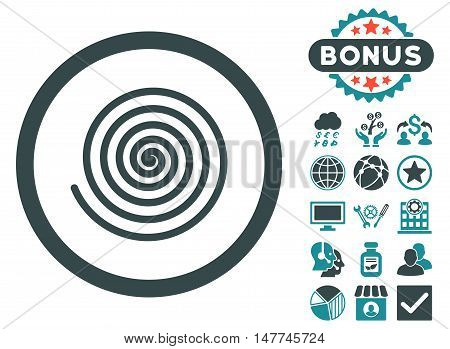 Hypnosis icon with bonus design elements. Vector illustration style is flat iconic bicolor symbols, soft blue colors, white background.