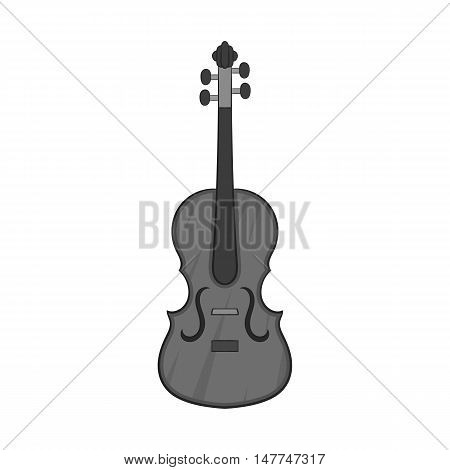Cello icon in black monochrome style isolated on white background. Musical instrument symbol vector illustration