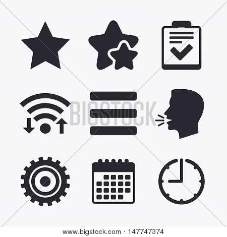 Star favorite and menu list icons. Checklist and cogwheel gear sign symbols. Wifi internet, favorite stars, calendar and clock. Talking head. Vector