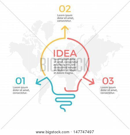 Light bulb infographic. Idea chart with 3 steps, parts.