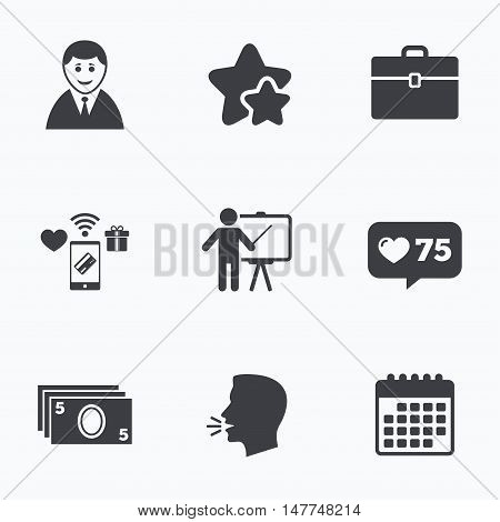 Businessman icons. Human silhouette and cash money signs. Case and presentation symbols. Flat talking head, calendar icons. Stars, like counter icons. Vector