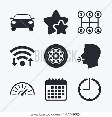 Transport icons. Car tachometer and mechanic transmission symbols. Wheel sign. Wifi internet, favorite stars, calendar and clock. Talking head. Vector